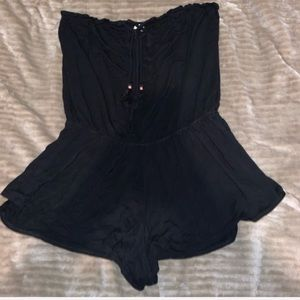 black strapless romper cross string
